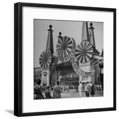 Entrance to the Luna Amusement Pavilion at Coney Island Amusement Park-Marie Hansen-Framed Art Print