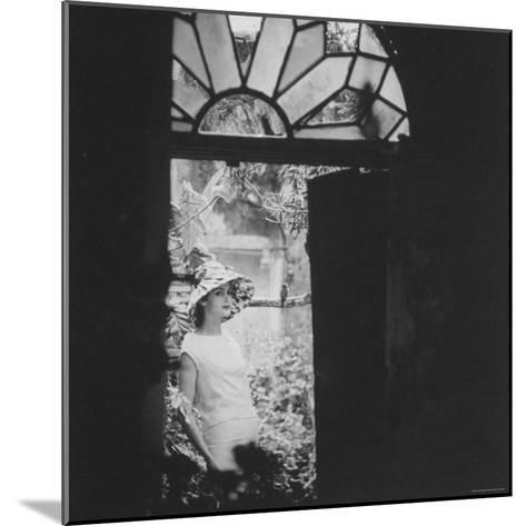 White Wool Dress with Taffeta Hat and Rose Design, by Cuban Designer, Ferreras-Gordon Parks-Mounted Photographic Print