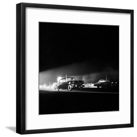 Two Cars in Drag Race-Hank Walker-Framed Art Print