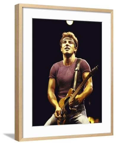 Musician Bruce Springsteen Performing-David Mcgough-Framed Art Print