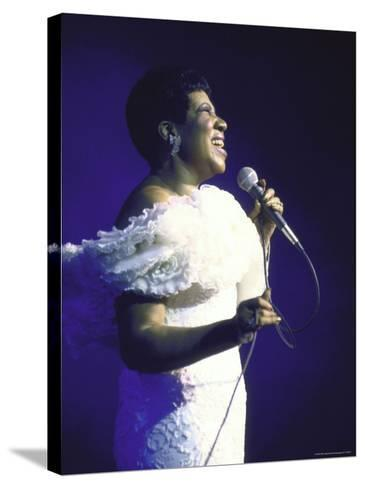 Singer Aretha Franklin Performing-David Mcgough-Stretched Canvas Print