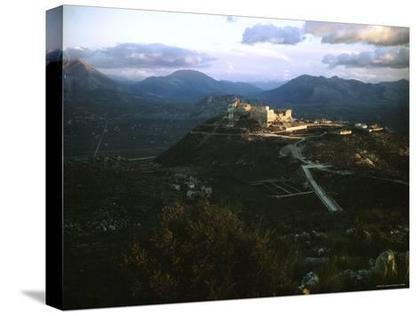 Apennine Mountains Surround Benedictine Abbey of Montecassino on Top of Hill-Jack Birns-Stretched Canvas Print