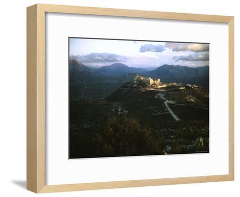Apennine Mountains Surround Benedictine Abbey of Montecassino on Top of Hill-Jack Birns-Framed Art Print