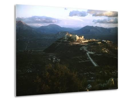 Apennine Mountains Surround Benedictine Abbey of Montecassino on Top of Hill-Jack Birns-Metal Print