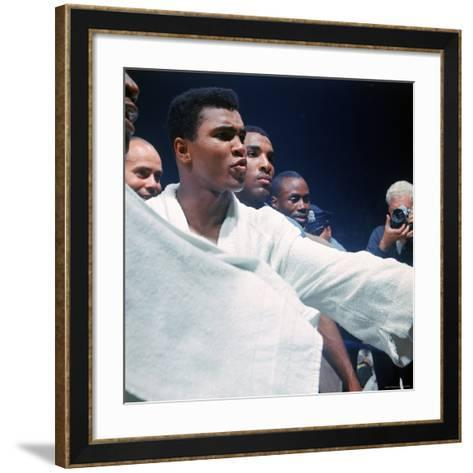 Heavyweight Boxer Cassius Clay, aka Muhammad Ali, After His Fight with Sonny Liston-John Dominis-Framed Art Print