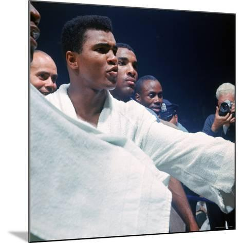 Heavyweight Boxer Cassius Clay, aka Muhammad Ali, After His Fight with Sonny Liston-John Dominis-Mounted Premium Photographic Print