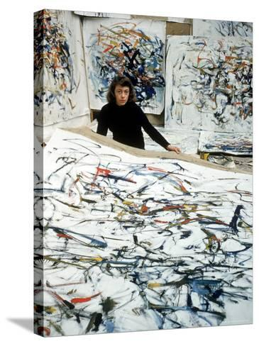 Portrait of American Born Painter Joan Mitchell in Her Studio-Loomis Dean-Stretched Canvas Print