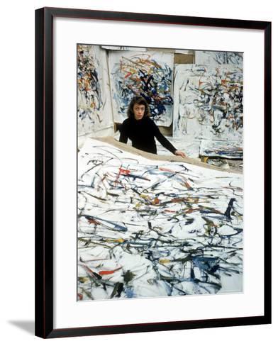 Portrait of American Born Painter Joan Mitchell in Her Studio-Loomis Dean-Framed Art Print
