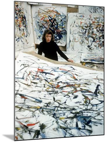Portrait of American Born Painter Joan Mitchell in Her Studio-Loomis Dean-Mounted Premium Photographic Print