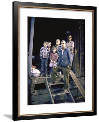 Unemployed Miner Standing with Family, Who Live on Social Security, Poverty in Appalachia-John Dominis-Framed Art Print
