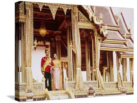 Thailand's King Bhumibol Adulyadej with Wife, Queen Sirikit at the Palace-John Dominis-Stretched Canvas Print