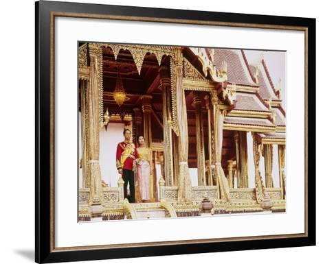 Thailand's King Bhumibol Adulyadej with Wife, Queen Sirikit at the Palace-John Dominis-Framed Art Print