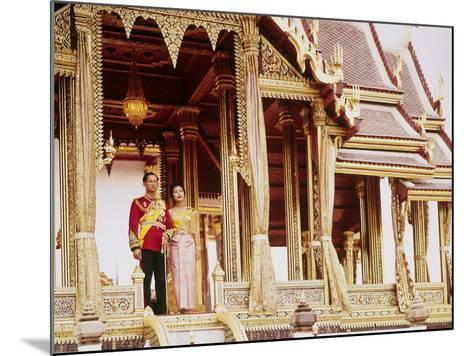 Thailand's King Bhumibol Adulyadej with Wife, Queen Sirikit at the Palace-John Dominis-Mounted Premium Photographic Print