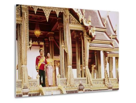 Thailand's King Bhumibol Adulyadej with Wife, Queen Sirikit at the Palace-John Dominis-Metal Print