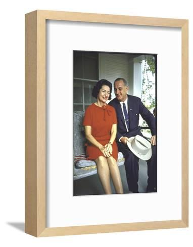 President Lyndon Johnson Sitting on Proch Swing with Wife on Morning Following His Election Win-John Dominis-Framed Art Print