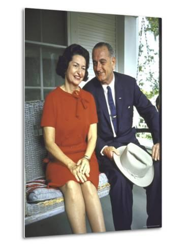 President Lyndon Johnson Sitting on Proch Swing with Wife on Morning Following His Election Win-John Dominis-Metal Print