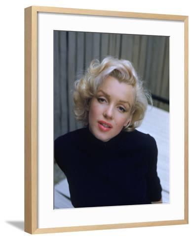 Marilyn Monroe on Patio Outside of Her Home-Alfred Eisenstaedt-Framed Art Print