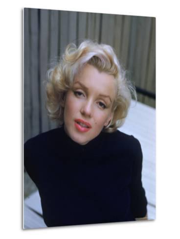 Marilyn Monroe on Patio Outside of Her Home-Alfred Eisenstaedt-Metal Print