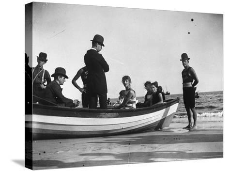 Three Girls Competing in a Swimming Match sit in boat before the meet at Coney Island, Brooklyn, NY-Wallace G^ Levison-Stretched Canvas Print