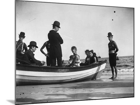 Three Girls Competing in a Swimming Match sit in boat before the meet at Coney Island, Brooklyn, NY-Wallace G^ Levison-Mounted Photographic Print