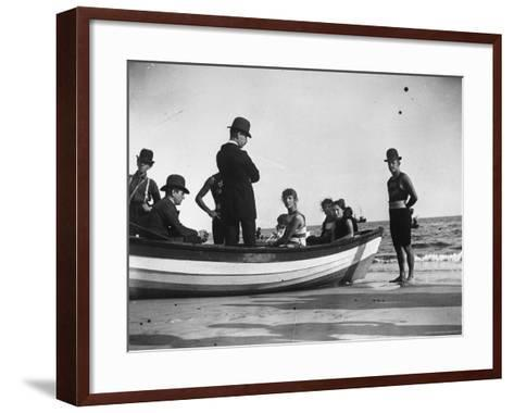 Three Girls Competing in a Swimming Match sit in boat before the meet at Coney Island, Brooklyn, NY-Wallace G^ Levison-Framed Art Print
