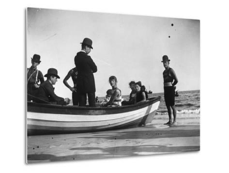 Three Girls Competing in a Swimming Match sit in boat before the meet at Coney Island, Brooklyn, NY-Wallace G^ Levison-Metal Print