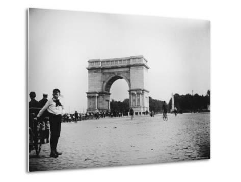 Boy on Bike as Hundreds Ride Bikes Through the Arch at Prospect Park During a Bicycle Parade-Wallace G^ Levison-Metal Print