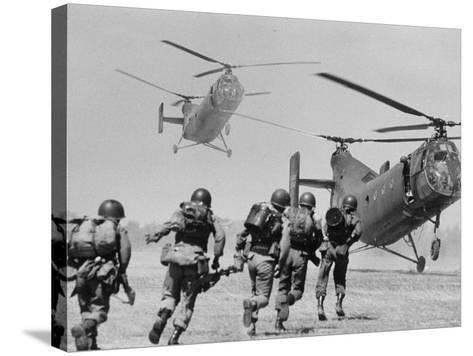 S. Vietnamese ARVN Paratroopers Running to Board 2 Ch 21 Shawnee Helicopters in Mekong Delta-Larry Burrows-Stretched Canvas Print