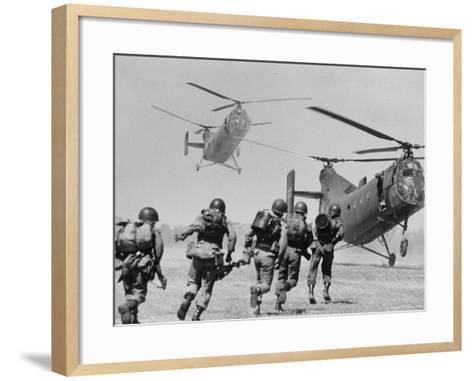 S. Vietnamese ARVN Paratroopers Running to Board 2 Ch 21 Shawnee Helicopters in Mekong Delta-Larry Burrows-Framed Art Print