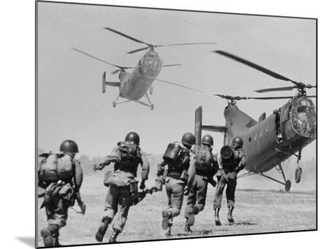 S. Vietnamese ARVN Paratroopers Running to Board 2 Ch 21 Shawnee Helicopters in Mekong Delta-Larry Burrows-Mounted Photographic Print