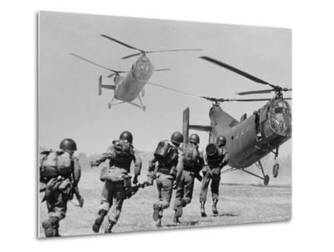 S. Vietnamese ARVN Paratroopers Running to Board 2 Ch 21 Shawnee Helicopters in Mekong Delta-Larry Burrows-Metal Print