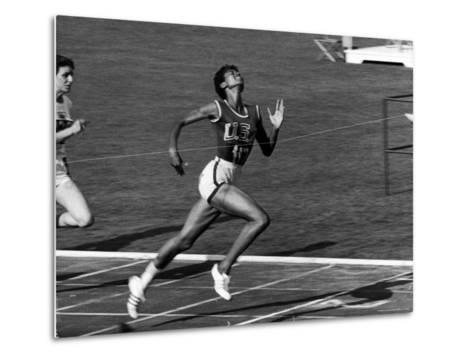 Wilma Rudolph, Across the Finish Line to Win One of Her 3 Gold Medals at the 1960 Summer Olympics-Mark Kauffman-Metal Print
