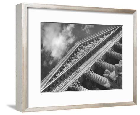 Sculptured Frieze of the US Supreme Court Building Emblazoned with Equal Justice under Law-Margaret Bourke-White-Framed Art Print