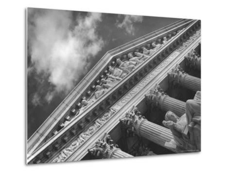 Sculptured Frieze of the US Supreme Court Building Emblazoned with Equal Justice under Law-Margaret Bourke-White-Metal Print
