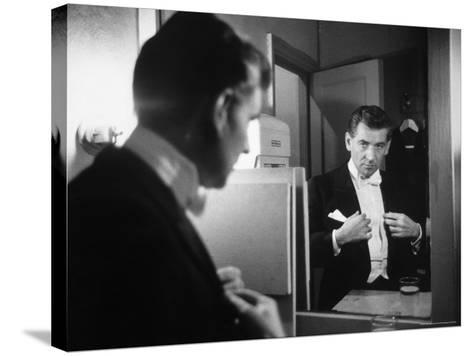 Composer/Conductor Leonard Bernstein Looking in Mirror before conducting Concert at Carnegie Hall-Alfred Eisenstaedt-Stretched Canvas Print