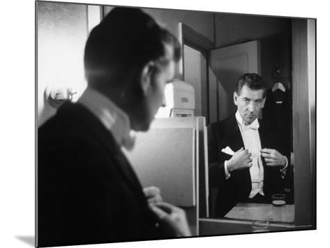 Composer/Conductor Leonard Bernstein Looking in Mirror before conducting Concert at Carnegie Hall-Alfred Eisenstaedt-Mounted Premium Photographic Print