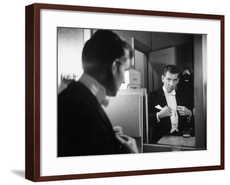Composer/Conductor Leonard Bernstein Looking in Mirror before conducting Concert at Carnegie Hall-Alfred Eisenstaedt-Framed Art Print