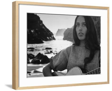 Folk Singer Joan Baez on the Beach with Guitar Near Her Home-Ralph Crane-Framed Art Print