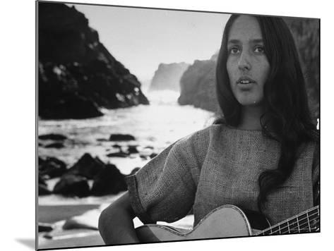 Folk Singer Joan Baez on the Beach with Guitar Near Her Home-Ralph Crane-Mounted Premium Photographic Print