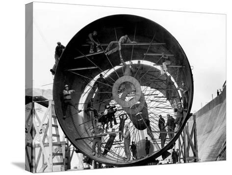 Men Working on Pipes Used to Divert Section of Missouri River During Building of Fort Peck Dam-Margaret Bourke-White-Stretched Canvas Print