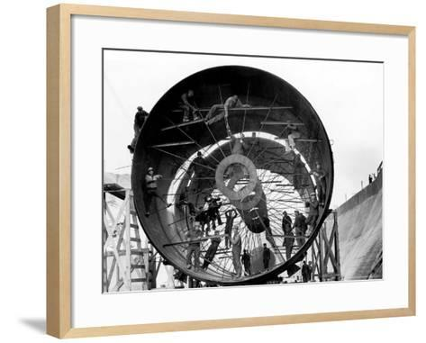 Men Working on Pipes Used to Divert Section of Missouri River During Building of Fort Peck Dam-Margaret Bourke-White-Framed Art Print