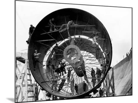 Men Working on Pipes Used to Divert Section of Missouri River During Building of Fort Peck Dam-Margaret Bourke-White-Mounted Photographic Print