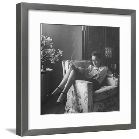 Actress Olivia de Havilland with Cigarette and Glass of Beer in While Relaxing at Home-Bob Landry-Framed Art Print