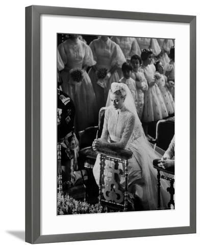 Actress Grace Kelly in Gorgeous Wedding Gown Praying During Her Wedding to Prince Rainier-Thomas D^ Mcavoy-Framed Art Print