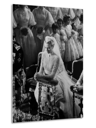 Actress Grace Kelly in Gorgeous Wedding Gown Praying During Her Wedding to Prince Rainier-Thomas D^ Mcavoy-Metal Print