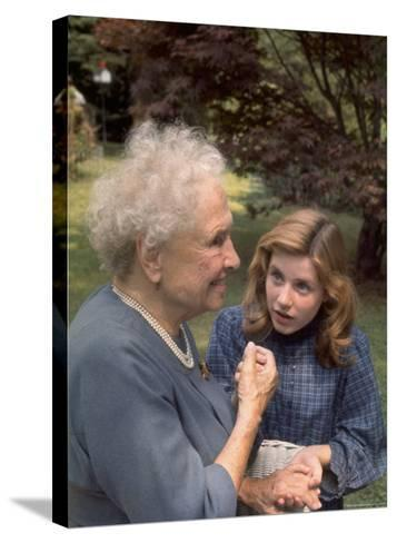 """Activist for the Disabled, Helen Keller, Meeting Actress Patty Duke in """"The Miracle Worker""""-Nina Leen-Stretched Canvas Print"""