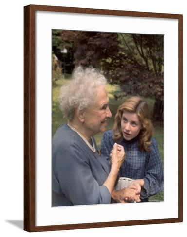"""Activist for the Disabled, Helen Keller, Meeting Actress Patty Duke in """"The Miracle Worker""""-Nina Leen-Framed Art Print"""