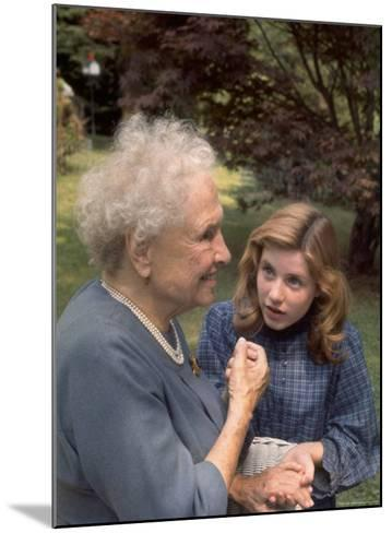 """Activist for the Disabled, Helen Keller, Meeting Actress Patty Duke in """"The Miracle Worker""""-Nina Leen-Mounted Premium Photographic Print"""
