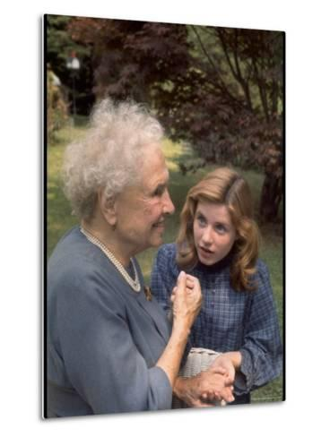 """Activist for the Disabled, Helen Keller, Meeting Actress Patty Duke in """"The Miracle Worker""""-Nina Leen-Metal Print"""