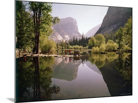 Children on Rocks on Mirror Lake in Yosemite National Park with Mountain Rising in the Background-Ralph Crane-Mounted Photographic Print